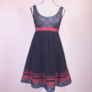 Adrianna Papell Dress Black Lace Red Flare Stretch